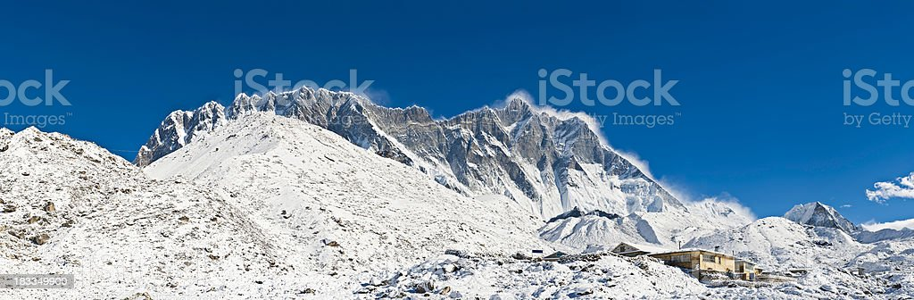 High altitude winter lodge snow mountain summits Nuptse Lhotse Himalayas stock photo