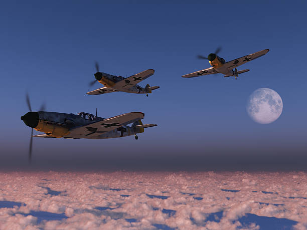 High altitude WWII fighter planes stock photo