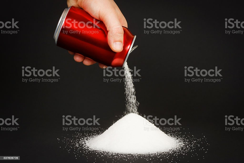 High amount of sugar in beverages stock photo