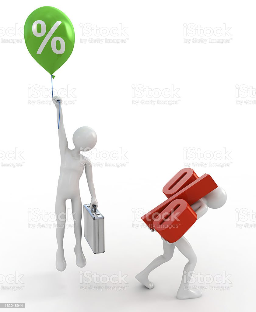 High and low interest rate loans royalty-free stock photo