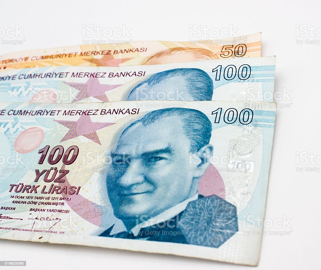 High ange view of Turkish currencies over white background stock photo