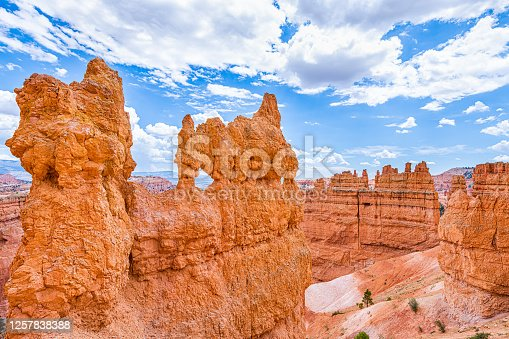 High angle above aerial view of hoodoos orange rock formations at Bryce Canyon National Park in Utah Queens Garden Navajo Loop trail