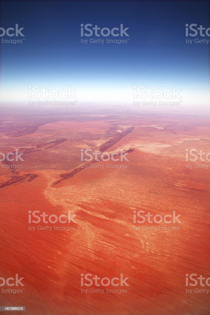 High Angle Aerial View of Australian Aboriginal Land Northern Territory stock photo
