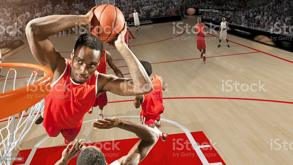 High Angle Basketball Dunk stock photo