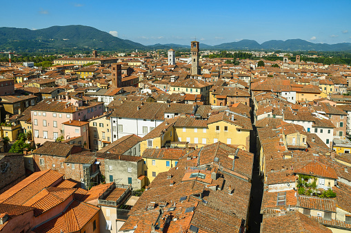 istock High angle city view of the medieval town of Lucca from the Guinigi Tower with the narrow alley of Via Sant'Andrea and the Torre delle Ore (Tower of the Hours) in a sunny summer day, Tuscany, Italy 1187094961
