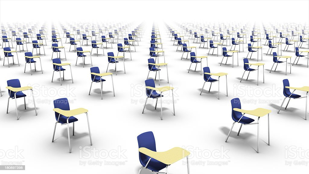 High angle diagonal view of endless school chairs. royalty-free stock photo
