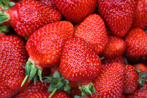Directly above full frame view of fresh strawberries