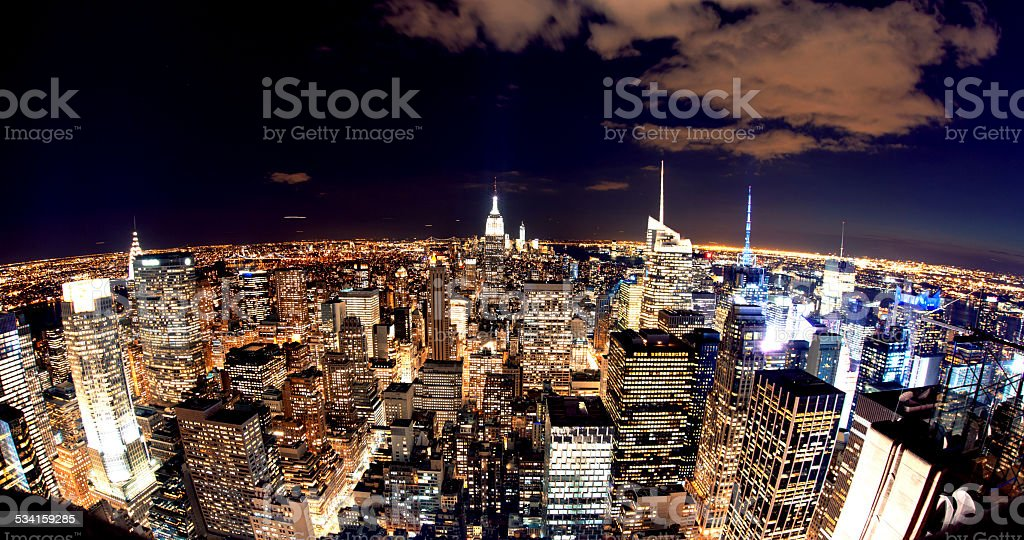 High Angle Manhattan New York Night stock photo