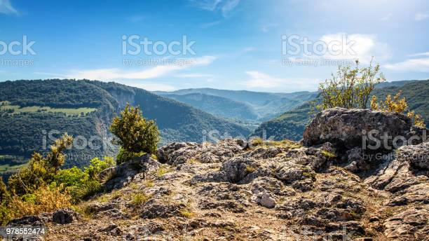 Photo of High angle natural point of view on awesome landscape of Bugey mountains in Ain valley by sunny summer day