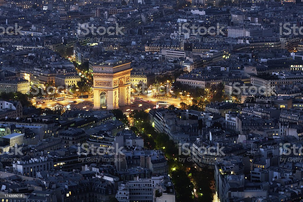 High Angle of l'Arc de Triomphe at Night stock photo