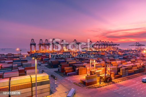 View of Shanghai Yangshan deepwater port at sunset