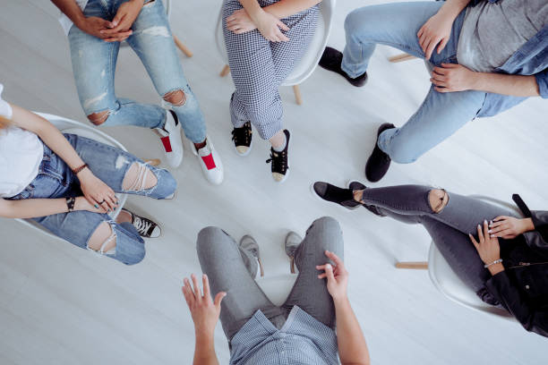 high angle of teenagers meeting - recovery stock pictures, royalty-free photos & images