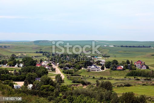 High angle view looking down on Small Town Rosebud Alberta.  East of Calgary. Tourist attraction for it's live theatre.