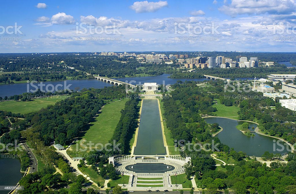 High angle onto Washington DC stock photo
