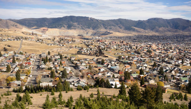 High Angle Overlook Walkerville Butte Montana Downtown United States stock photo