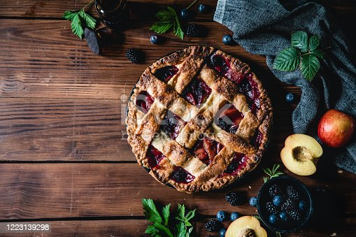 istock High angle photograph of a lattice fruit pie 1223139298