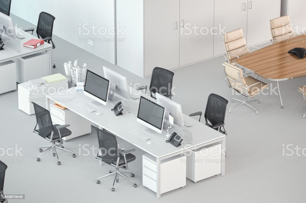 High Angle Shot Of A Modern Office Space stock photo