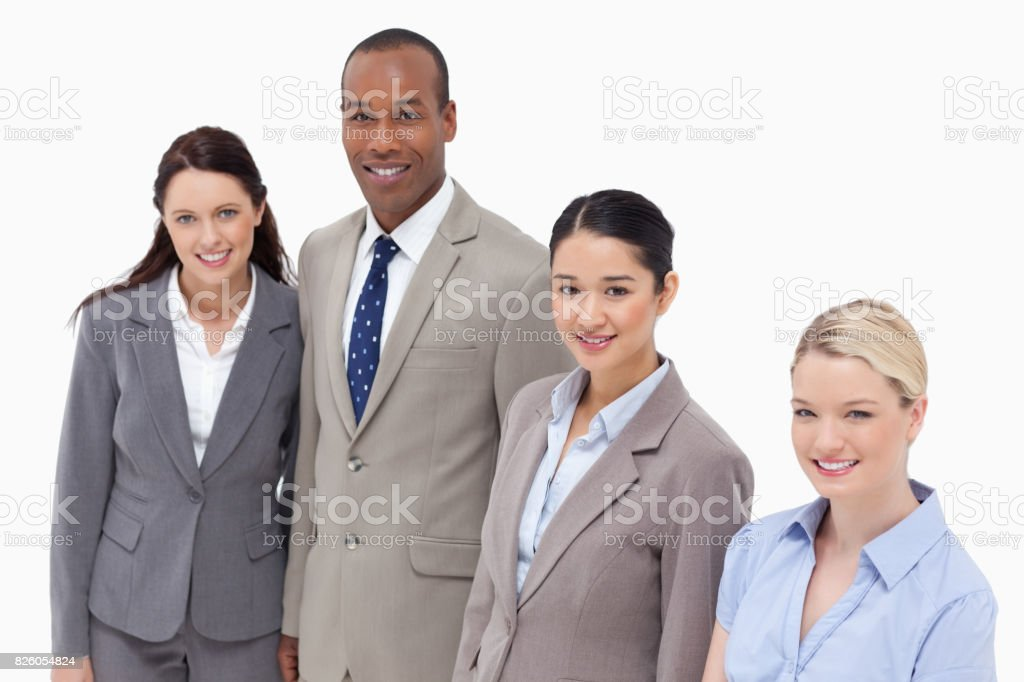 High angle shot of business people smiling stock photo