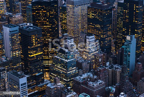 High angle shot of large group of majestic skyscrapers in Manhattan, New York City. Horizontal composition.