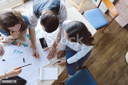 istock High angle shot of new entrepreneurs having a startup meeting 695866178