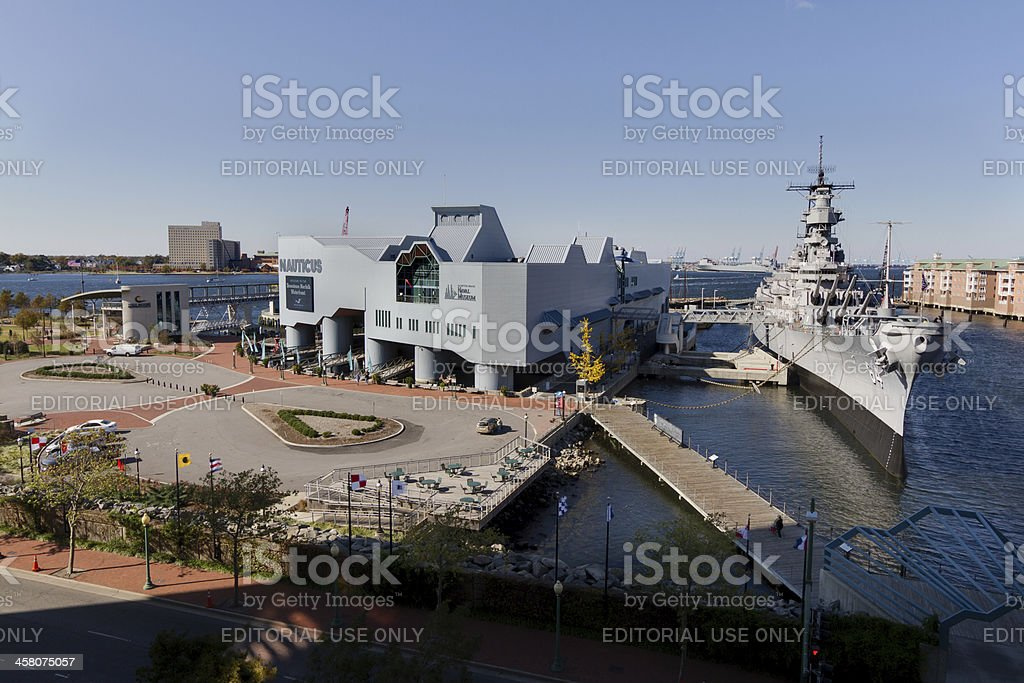 High angle shot of the USS Wisconsin at Nauticus. stock photo
