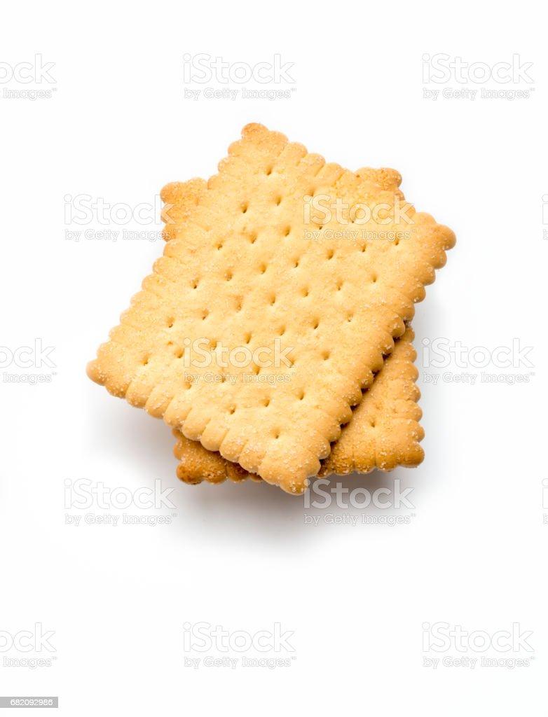 tiro de ângulo elevado de dois biscoitos de manteiga, isolado no branco - foto de acervo