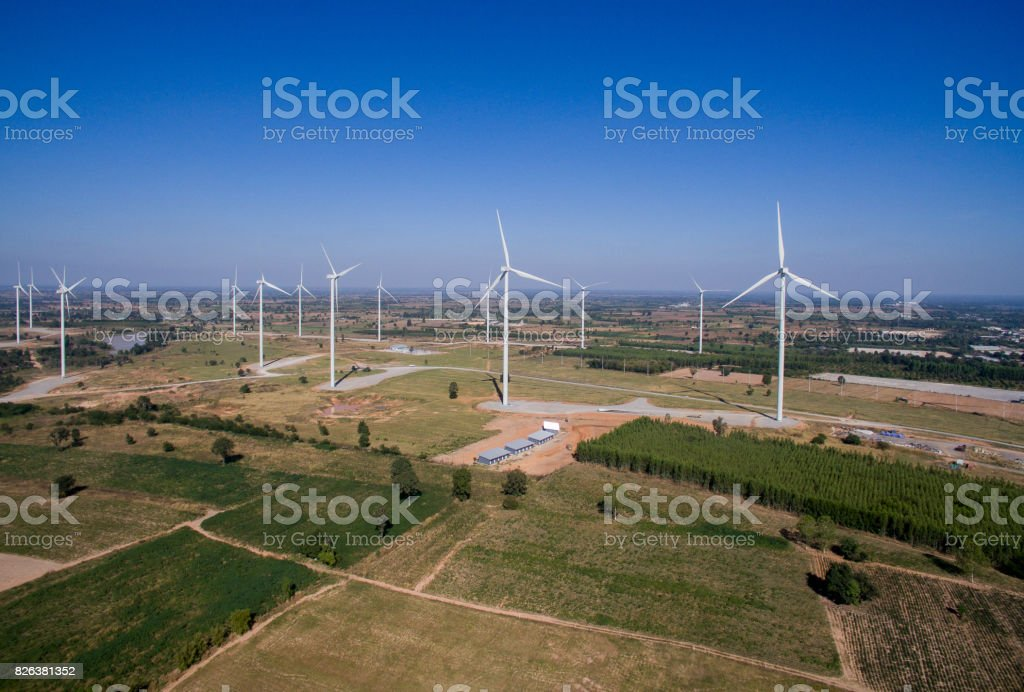 Shots For Thailand >> High Angle Shots Wind Turbine In A Field Of Thailand Stock