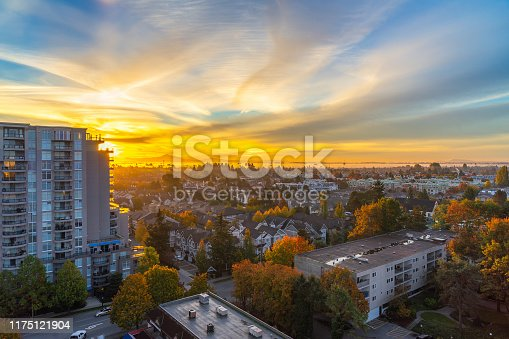 istock High angle sunrise moments of city view 1175121904