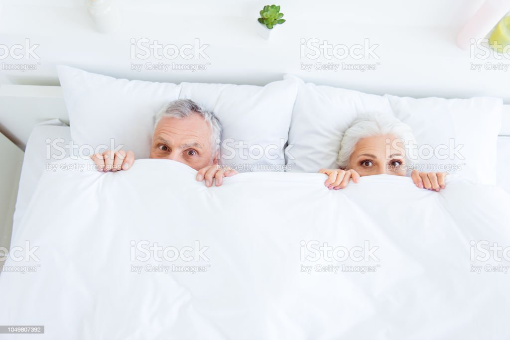 High Angle Top View Surprised Funny Couple Gray Hair People