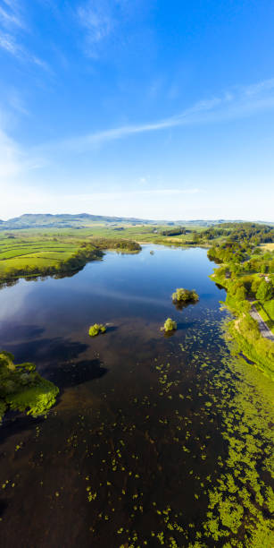 High angle vertical panoramic view of a Scottish loch on a calm spring morning stock photo