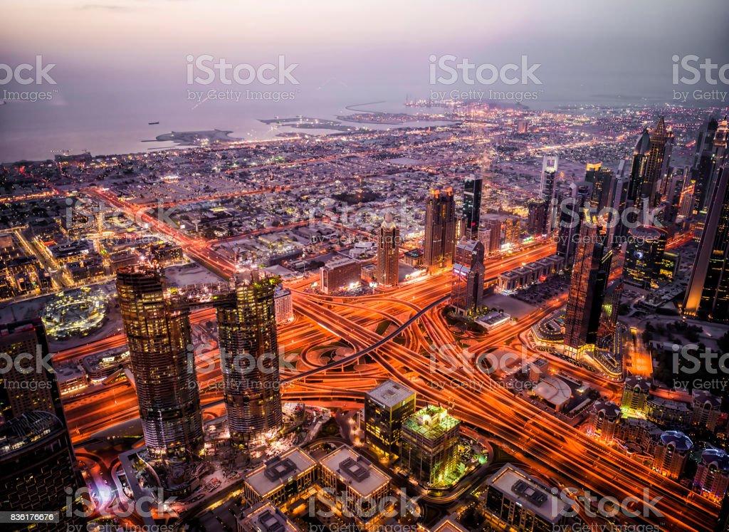High angle via at the Burj Khalifa stock photo