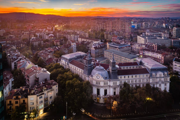 High angle view above city of Sofia, Bulgaria, Eastern Europe - stock image Panoramic high angle view above Western city of Sofia, Bulgaria, Eastern Europe during sunset back light into the sky. Shot on Canon EOS full frame system with tilt-shift prime lens. bulgaria stock pictures, royalty-free photos & images