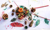 istock High angle view art and craft with pine cones and other forest fruit 1193370529