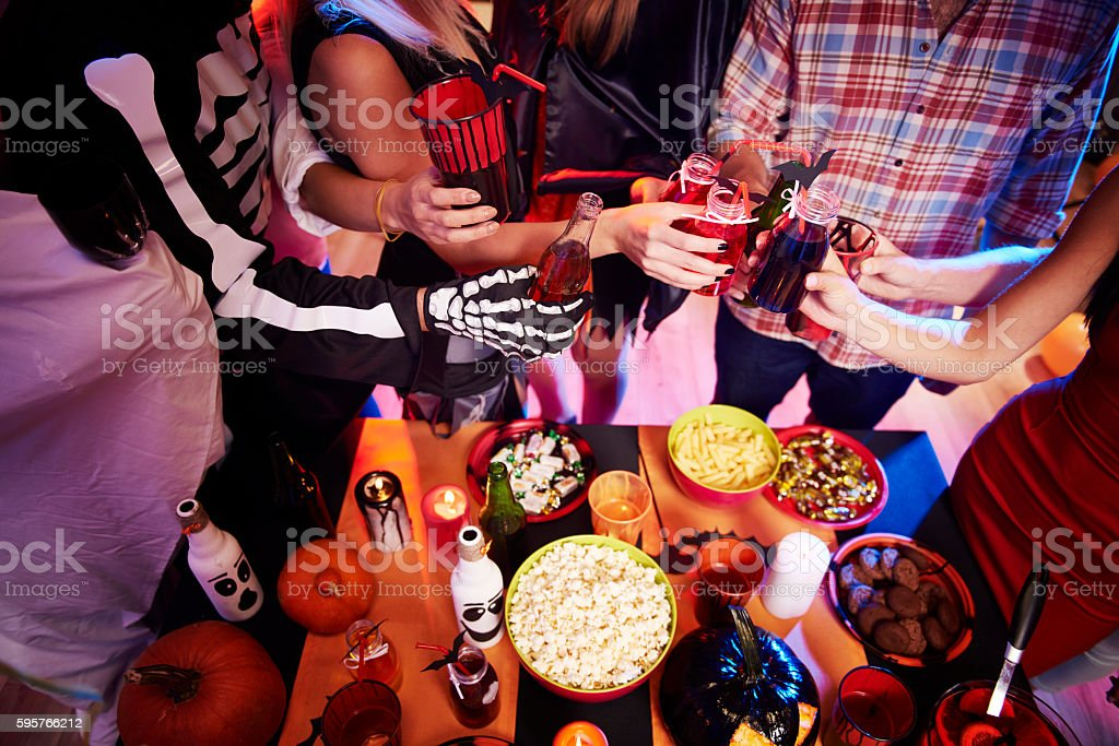 High angle view at halloween table royalty-free stock photo