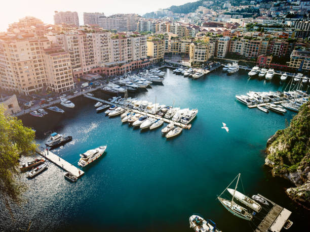 High angle view at harbor of Montecarlo stock photo