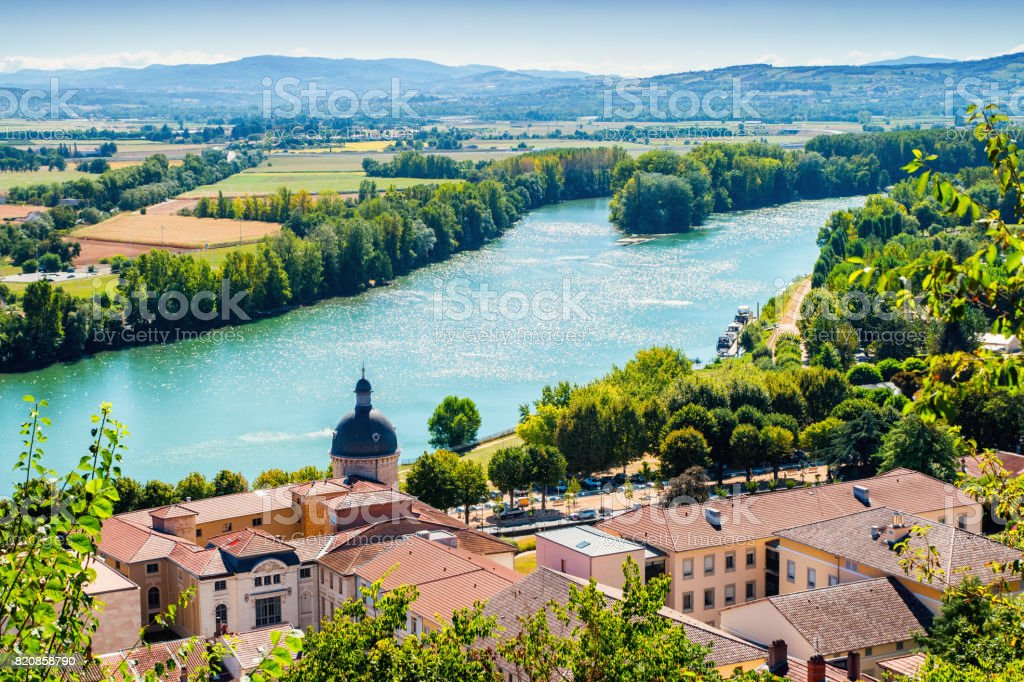High angle view landscape of Trevoux town scenic in France along Saone river during a sunny summer day stock photo
