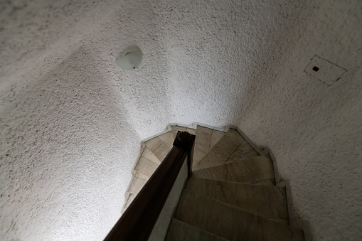 High Angle View Looking Down Of Old Vintage Stone Basement Cave Winding Spiral Staircase Grey Concrete Color View In Europe With Nobody Abstract Pattern Architecture Stock Photo Download Image Now Istock