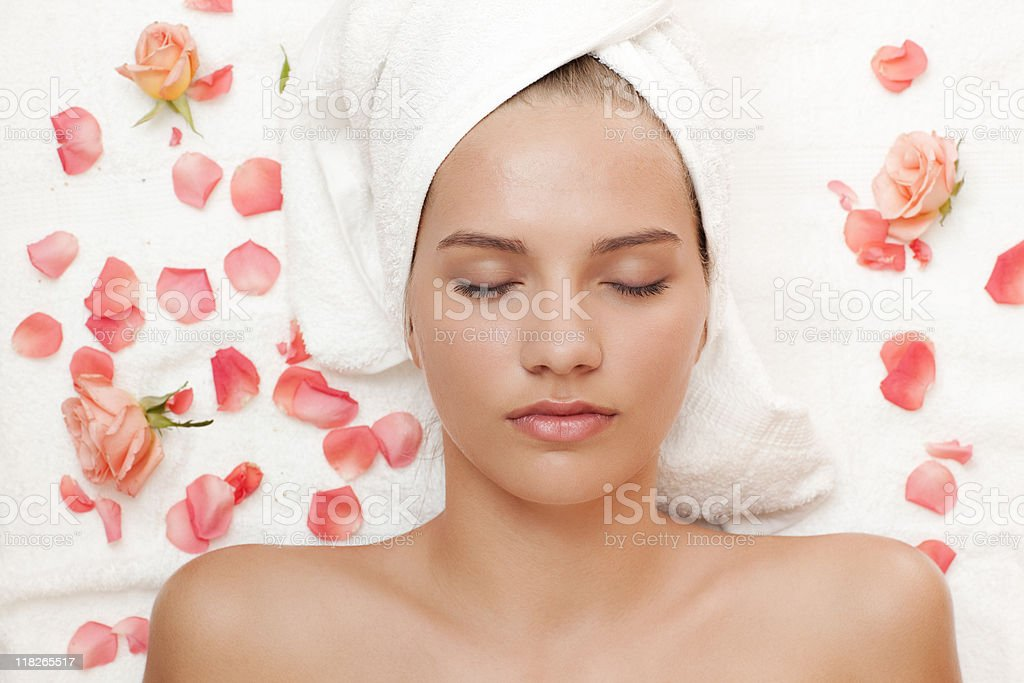 High angle view of a beautiful young woman at spa royalty-free stock photo