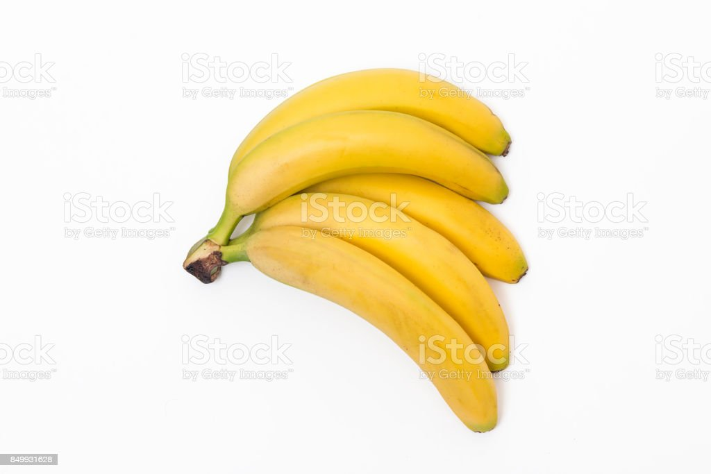 High angle view of a bunch of bananas over isolated on white stock photo