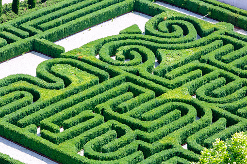 High angle view of a labyrinth park in Venice Italy