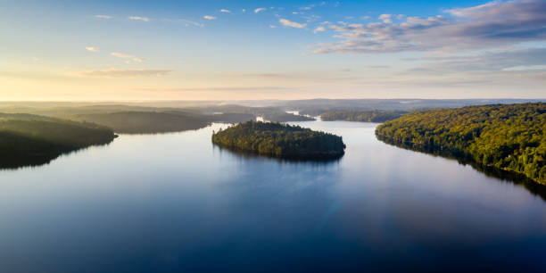High angle view of a lake and forest stock photo