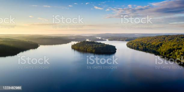 Photo of High angle view of a lake and forest