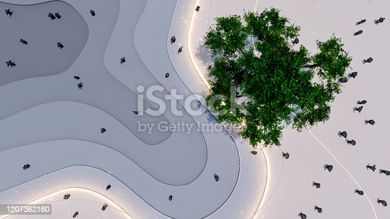 High angle view of people in a futuristic urban park