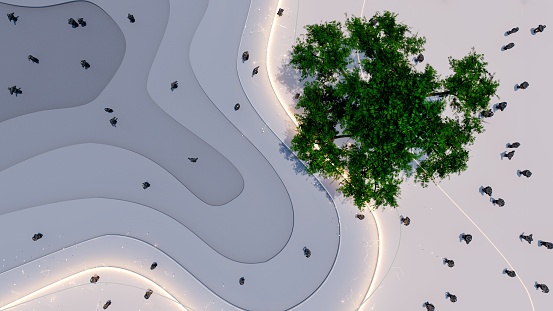 High angle view of a modern park
