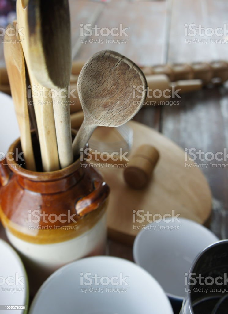 High angle view of a rustic kitchen countertop stock photo