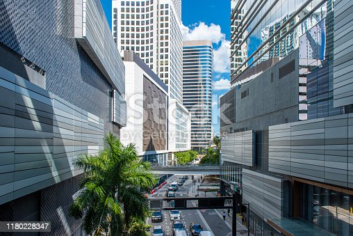 High angle view of a street and modern buildings at downtown Miami, Florida, USA.