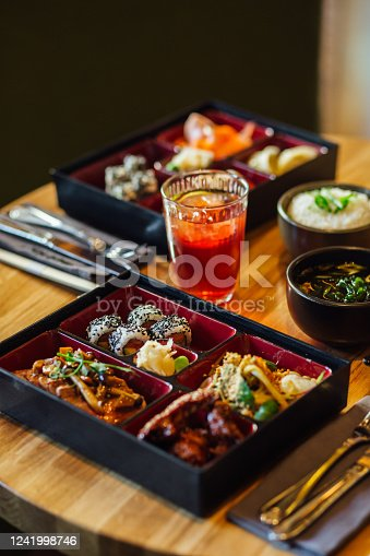 Close up shot of East asian cuisine food on a table