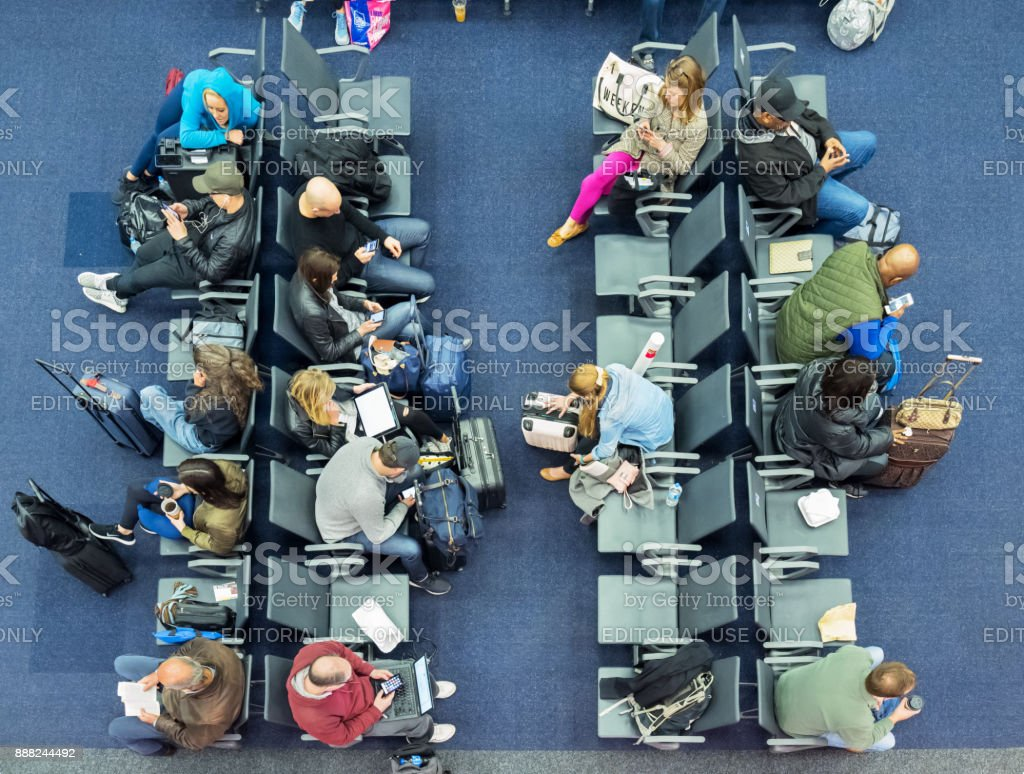 High angle view of airport terminal gate lounge stock photo