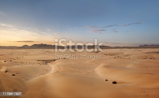 High angle, panoramic view of an empty desert at the sunrise with copy space