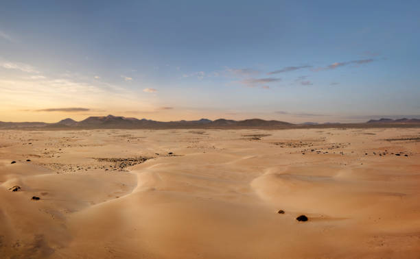 High angle view of an empty desert with copy space stock photo